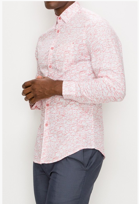 Men's Pink Print Designed Shirt