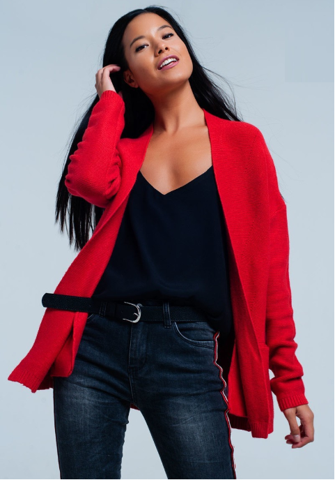 Ms. Mandy Red Cardigan with Handy Pockets