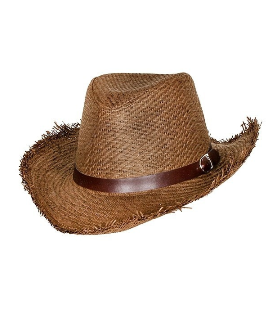 Rustic Cowboy Straw Hat - Dark Brown