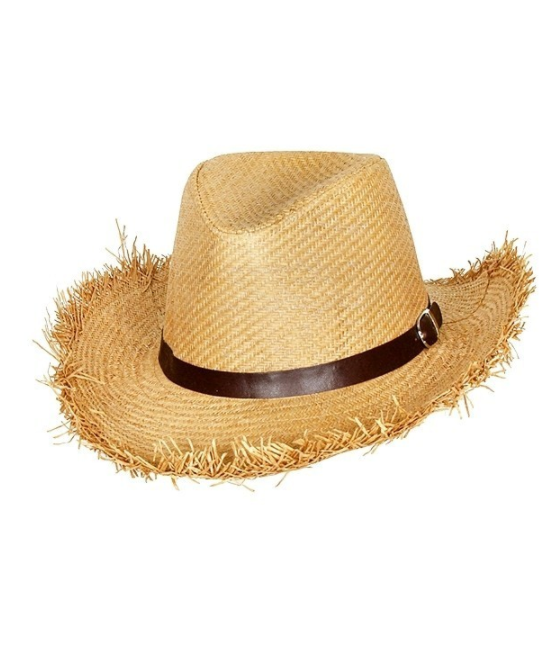 Rustic Cowboy Straw Hat - Light Brown