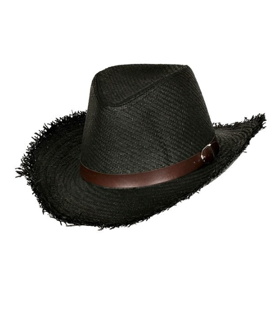 Rustic Cowboy Straw Hat - Black