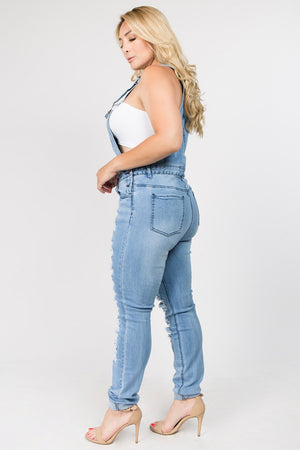 Banger Distressed Denim Jumpsuit (Plus Size)