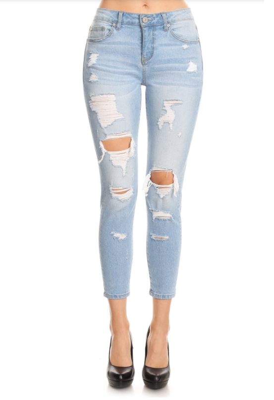 High Waist Destroyed Skinny Denim Jeans