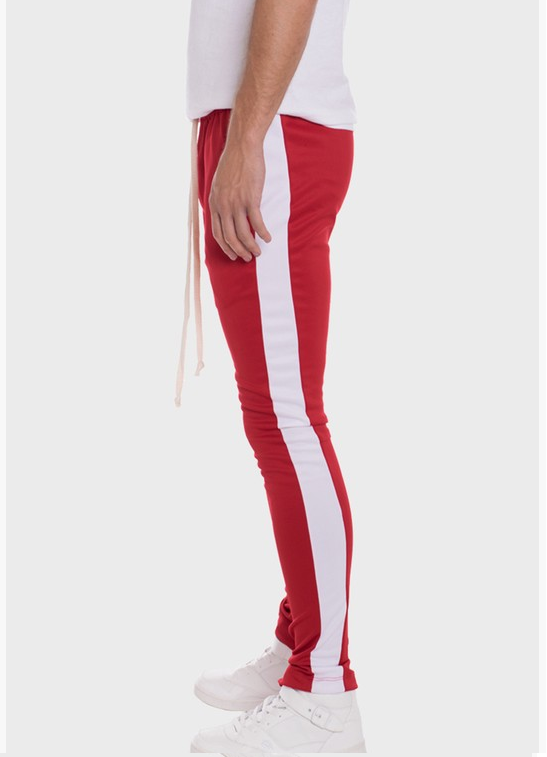 Men's Red Joggers with White Side Stripe
