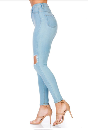 Smiley High Waist Distress Denim Jeans