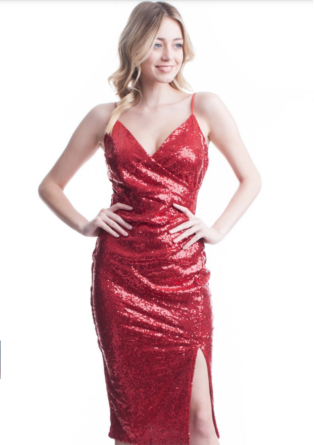 Sequin Bodycon Dress with Side Slit - Available in Red