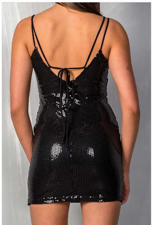 Black Sweetheart Sequin Dress