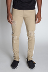 Prince Milan Striped Ankle Zip Pants - Khaki