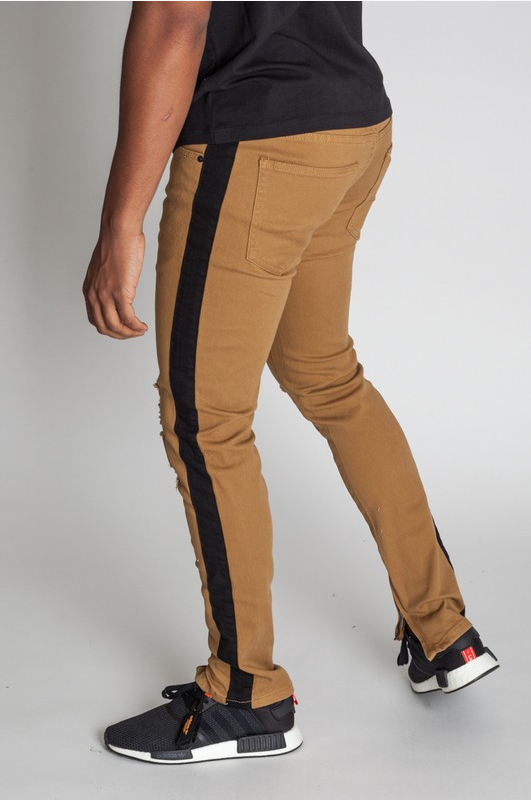 Prince Milan Striped Ankle Zip Pants - Brown