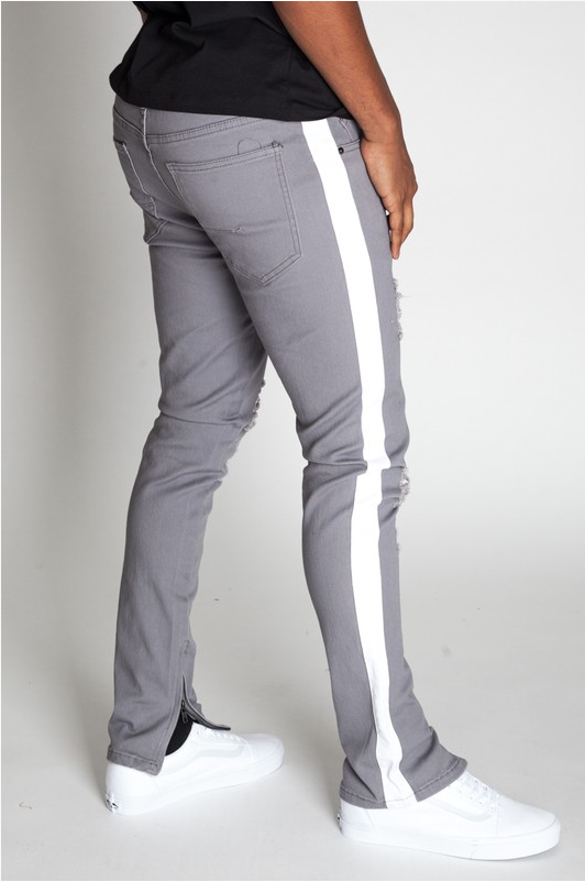 Prince Milan Striped Ankle Zip Pants - Grey