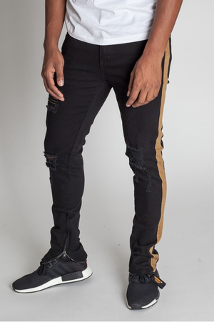 Prince Milan Striped Ankle Zip Pants - Black
