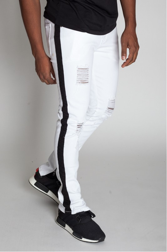 Prince Milan Striped Ankle Zip Pants - White