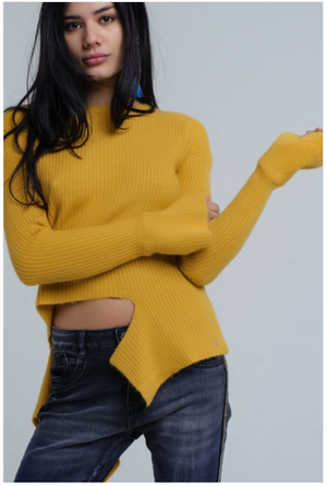 Asymmetric Sweater in Mustard Color