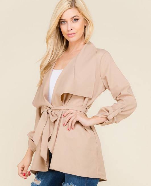 Tiffany's Waist-Tie Trench Coat - Color Khaki