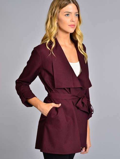 Tiffany's Waist-Tie Trench Coat - Color Mulberry