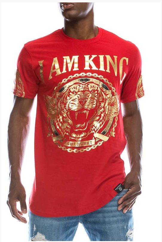 I Am King Print T-Shirt - (Color Red)