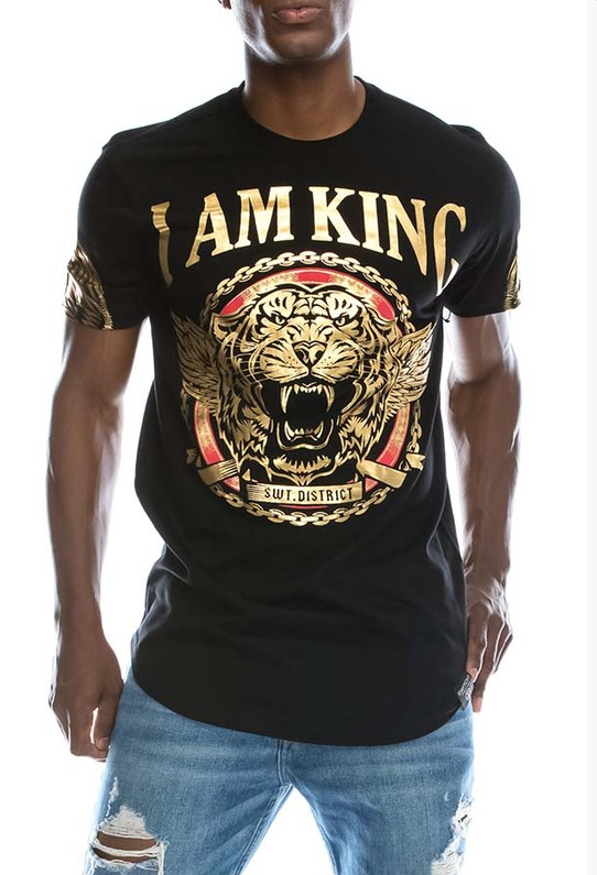 I Am King Print T-Shirt - (Color Black)