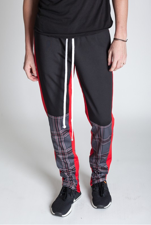 KDNY's Plaid Blocked Track Pants - Black