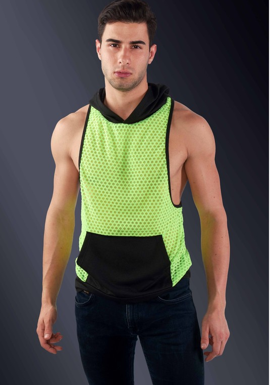 Fishnet Hoodie Tank Top (Neon Yellow)