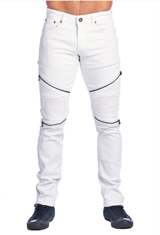 White Paper Fitz Jeans w/ Zipper Detail