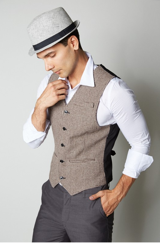 Men's Wool Blended Semi Casual Vest - (Brown)