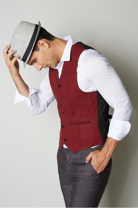 Men's Wool Blended Semi Casual Vest - (Red)