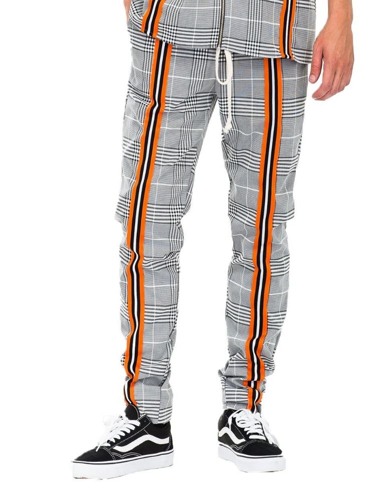 Jackson Track Jogger - Grey with Orange, Black/White Stripes