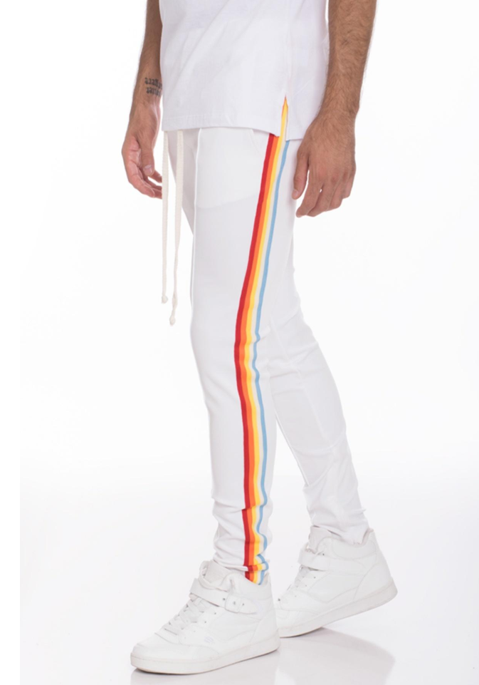 Rainbow Track Pants - Multicolor Stripes/White
