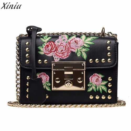 Women Embroidery Rose Bag