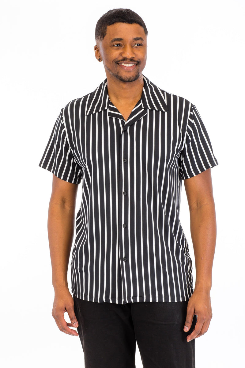 Pin Stripes Poly Span Shirt - Black/White