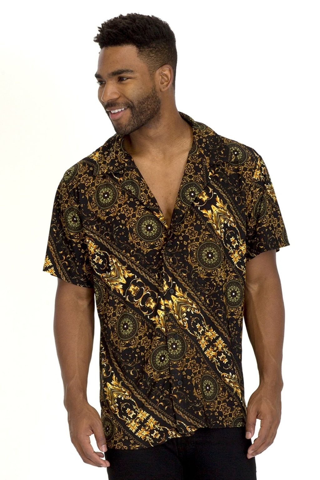 Pendant Button Down Shirt - Black/Gold