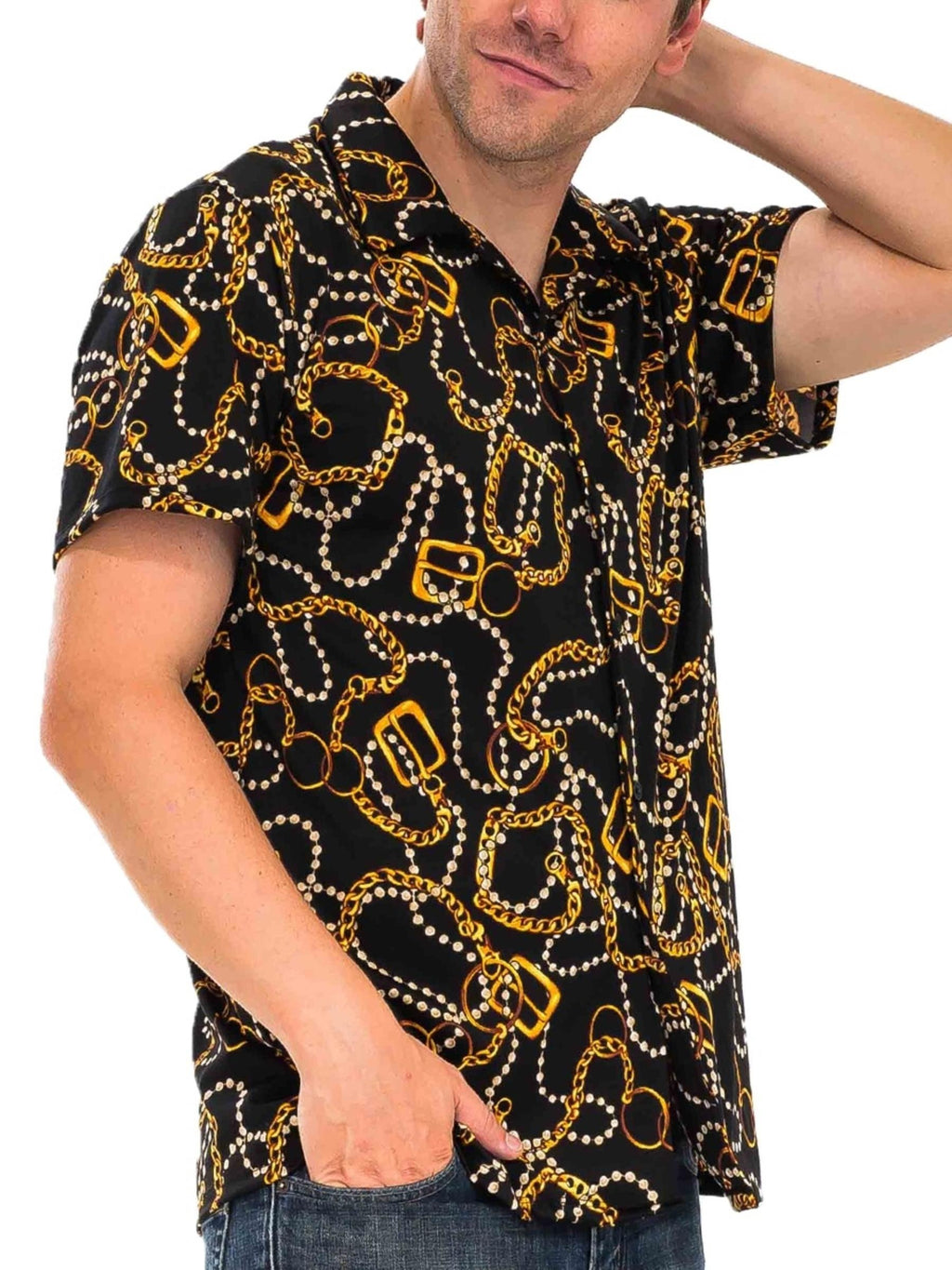 String Beads Button Down Short Sleeve Shirt - Black