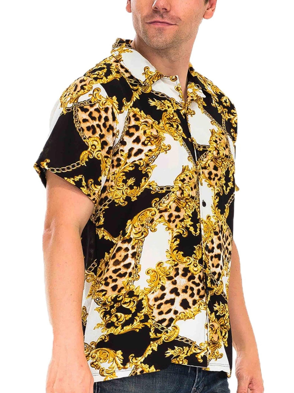 Gold Leaf Shirt Sleeve Shirt - Black/Yellow Print