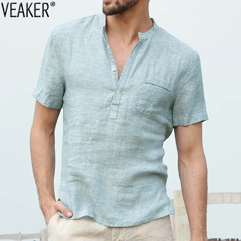 Mandarin Sexy V Neck Cotton Linen Shirt