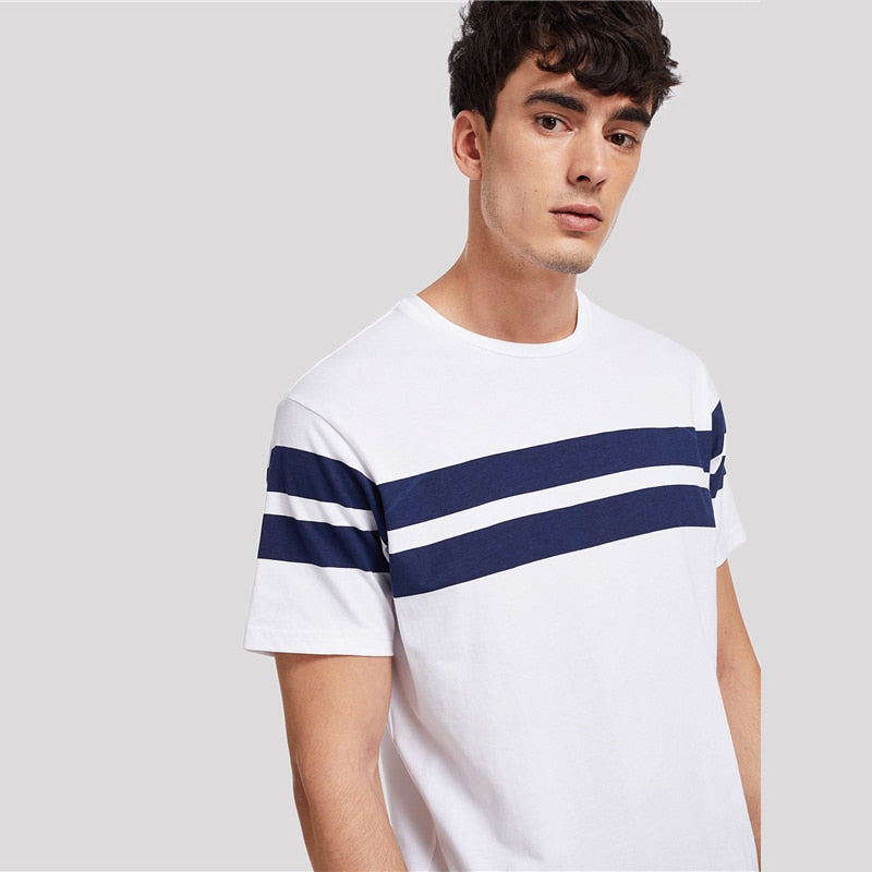Men Striped Tunic Tee Streetwear
