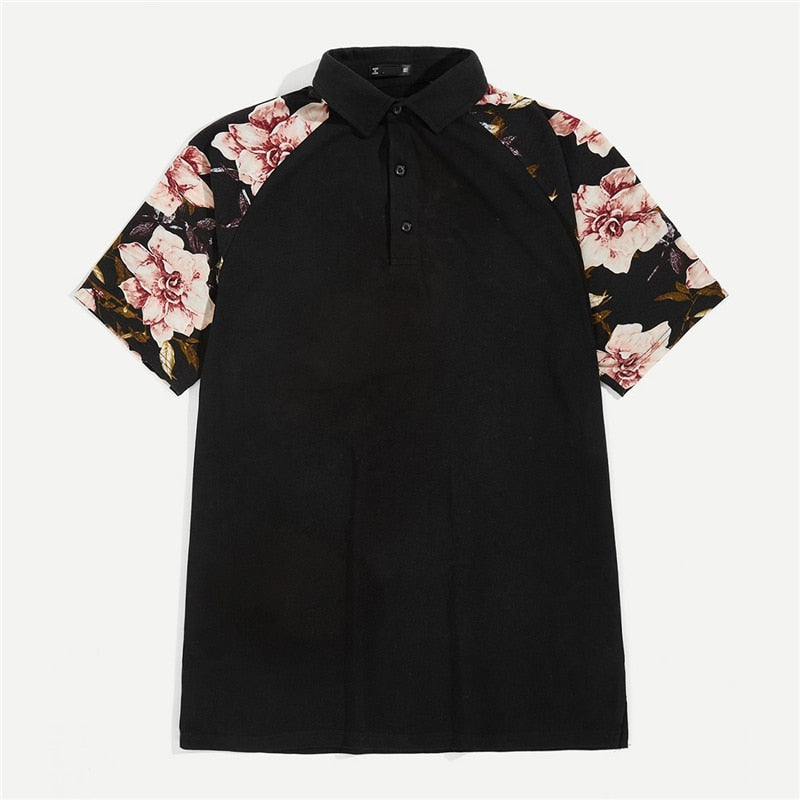 Men Flower Raglan Polo Shirt - Black