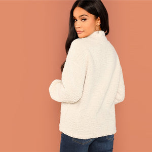 Beige Button Front Teddy Sweatshirt