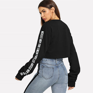 Traveling Babe Casual Crop Sweatshirt