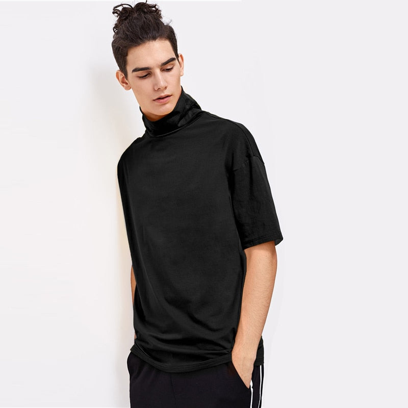 Men High Neck Half Sleeve Shirt