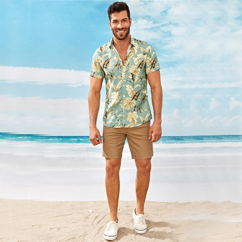 Men's Boho Floral Print Shirt - Multicolor