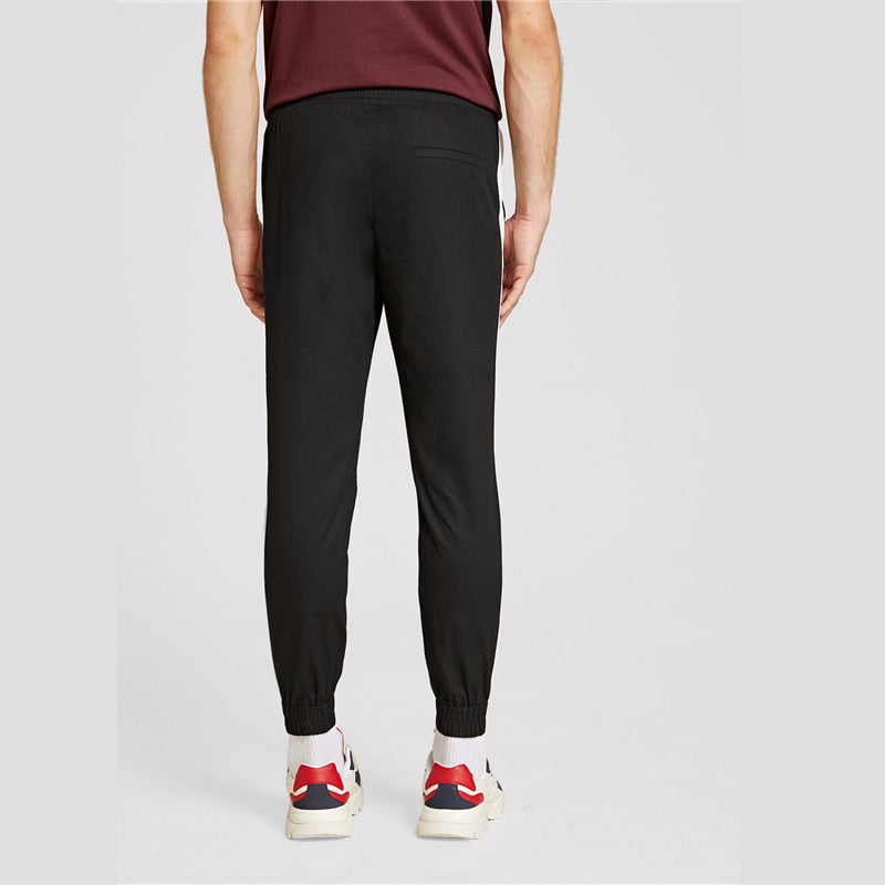 Men Drawstring Waist Contrast Sideseam Sweatpants