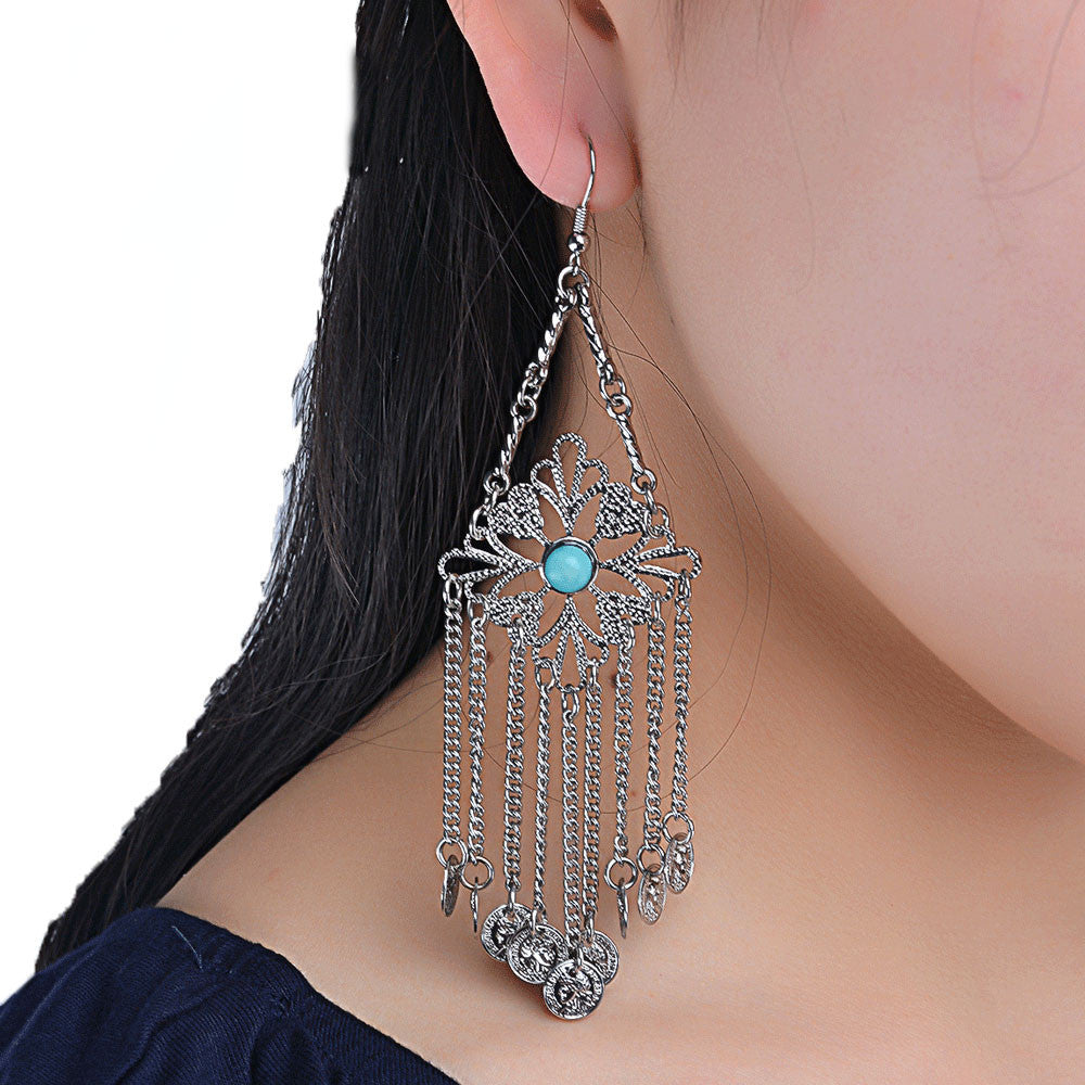 Women Popular Turquoise Tassel Pendant Earring Jewelry