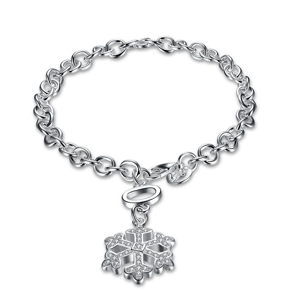 Swarovski Crystal Snowflake Bracelet in 18K White Gold Plated