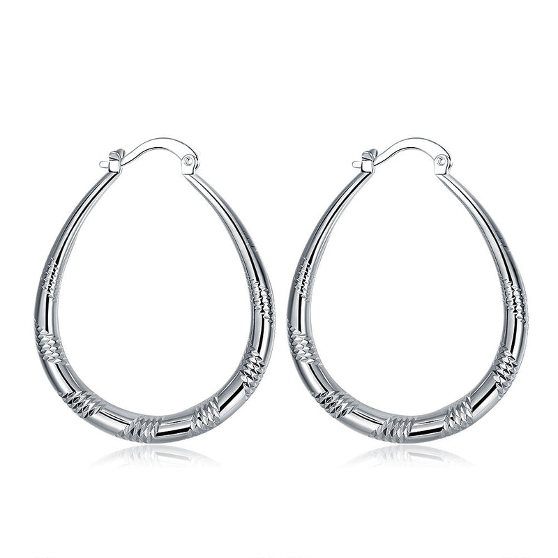 18K White Gold Plated Line Cutting Hoop Earring