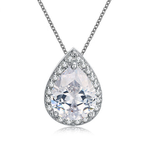 18K Italian White GP White Topaz Teardrop Necklace