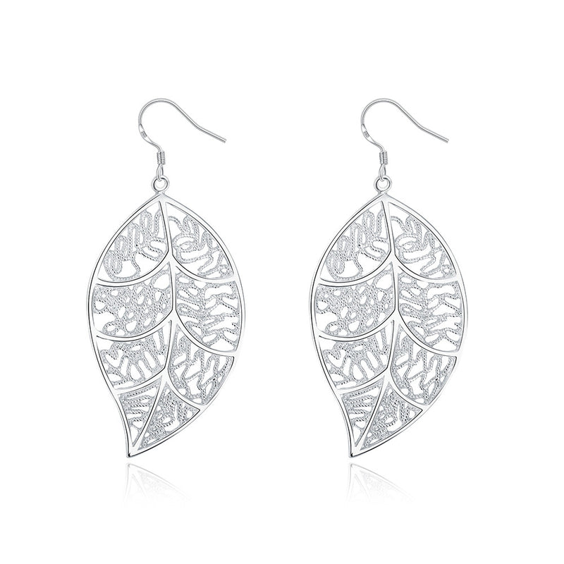 18K White Gold Plated Laser Cut Filigree Leaf Earring
