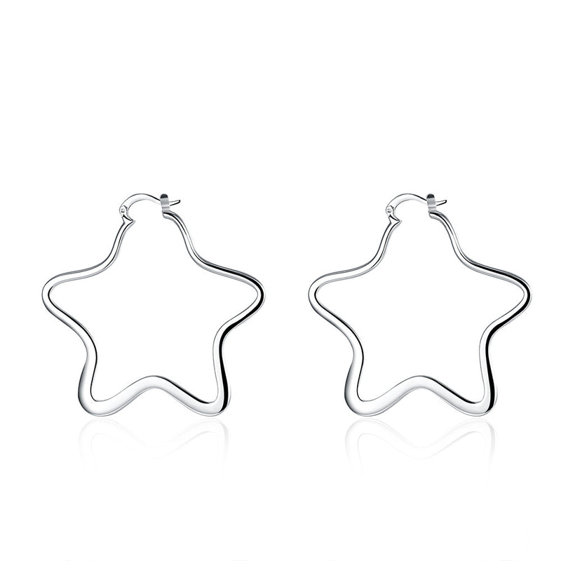 18K White Gold Plated Large Hollow Starts Hoops