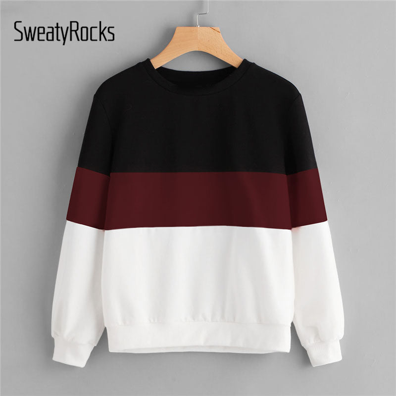 SweatyRocks Cut And Sew Colorblock Pullover Sweatshirt