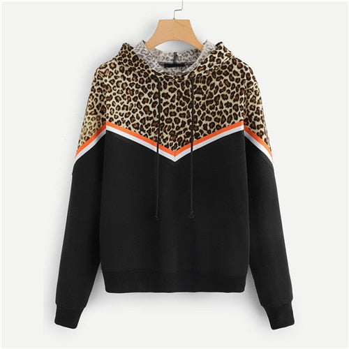 SweatyRocks Sporting Leopard Contrast Striped Long Sleeve Hoodie