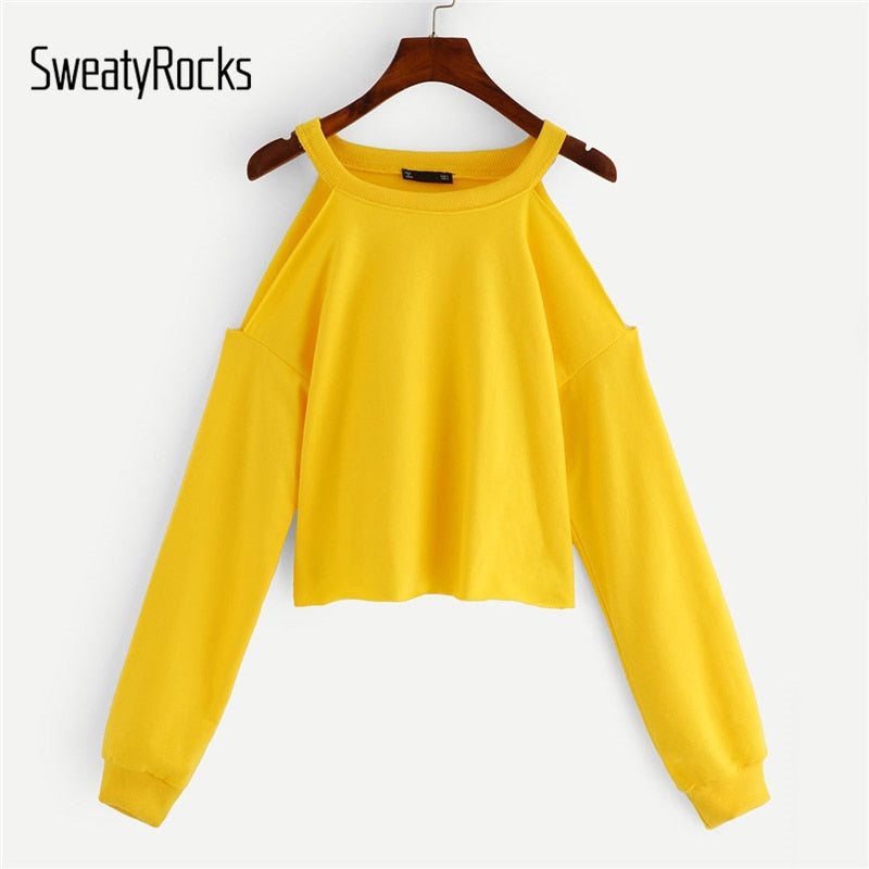 SweatyRocks Yellow Open Shoulder Frayed Edge Sweatshirt